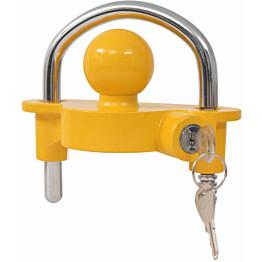 Peräkärryn lukko, 2 avainta, teräs ja alumiiniyhdiste, keltainen