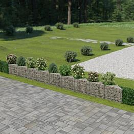 Kivikoriseinä, galvanoitu teräs, 630x30x50cm
