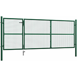 Puutarhaportti, teräs, 350x125cm, vihreä