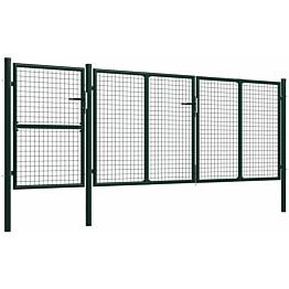 Puutarhaportti käyntiovella, teräs, 400x125cm, vihreä