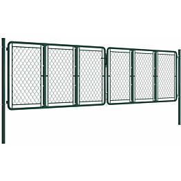 Puutarhaportti, teräs, 400x125cm, vihreä