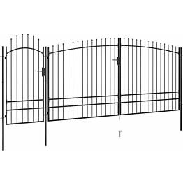 Puutarha-aidan portti, keihäskärjillä, 5x2.45m, musta