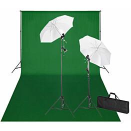 Studiosarja vihreällä taustakankaalla & valoilla, 600x300 cm