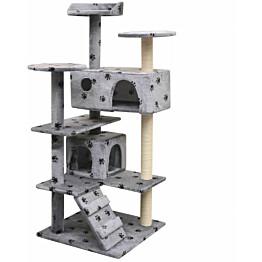 Kissan raapimispuu, sisal-pylväillä, 2 pesällä, 125cm, tassukuvio, harmaa