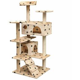 Kissan raapimispuu, sisal-pylväillä, 2 pesällä, 125cm, tassukuvio, beige