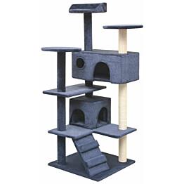 Kissan raapimispuu, sisal-pylväillä, 2 pesällä, 125cm, tummansininen
