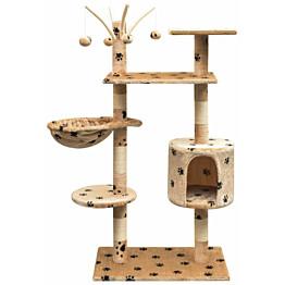 Kissan raapimispuu, sisal-pylväillä, 1 pesällä, 125cm, tassukuvio, beige