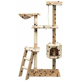 Kissan raapimispuu, sisal-pylväillä, 1 pesällä, 150cm, tassukuvio, beige