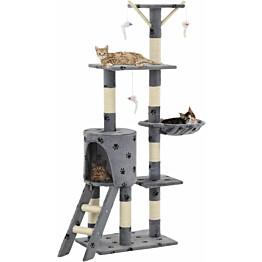 Kissan kiipeilypuu, sisal-pylväillä, 49x35x138cm, tassukuvio, harmaa