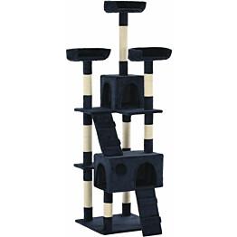 Kissan raapimispuu, sisal-pylväillä, 50x50x170cm, tummansininen