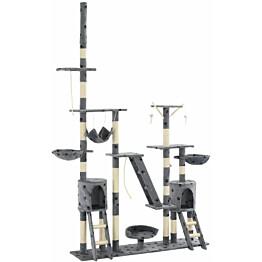 Kissan raapimispuu, sisal-pylväillä, 230-250cm, tassukuvio, harmaa