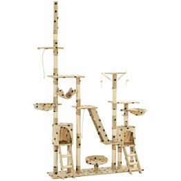 Kissan kiipeilypuu, sisal-pylväillä, 230-250cm, tassukuvio, beige