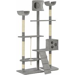 Kissan raapimispuu, sisal-pylväillä, 110x40x180cm, harmaa