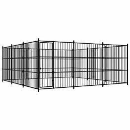 Koiran ulkohäkki, 450x450x185cm, musta