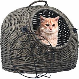Kissan kuljetuskori, 45x35x35cm, harmaa luonnollinen paju