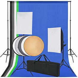Valokuvastudiosetti 5 värillistä taustaa ja 2 softboxia