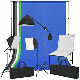 Valokuvastudiosetti kuvauspöytä, valot ja taustakankaat