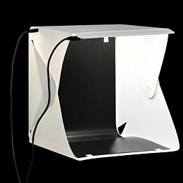 Kokoontaittuva LED-studiovalolaatikko, 23x25x25 cm, valkoinen