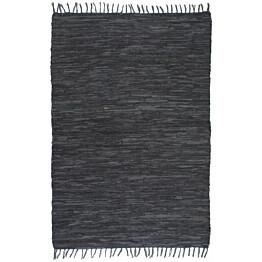 Chindi-matto 160x230cm käsinkudottu nahka tummanharmaa