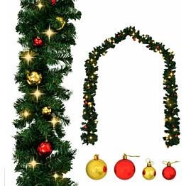 Jouluköynnös, koristeltu joulupalloilla ja LED-valoilla, 10 m