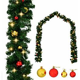 Jouluköynnös, koristeltu joulupalloilla ja LED-valoilla, 20 m