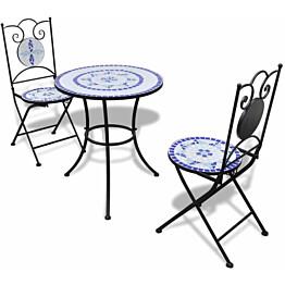 Bistrokalustesarja 3-osainen, mosaiikki, sininen ja valkoinen
