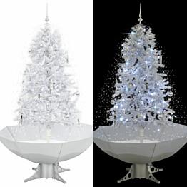 Lunta satava joulukuusi sateenvarjopohjalla, valkoinen, 170cm