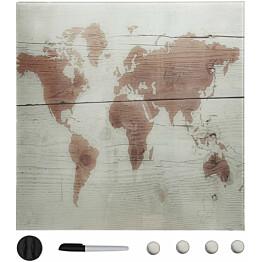 Seinäkiinnitteinen magneettinen tussitaulu, lasi, 60x60 cm