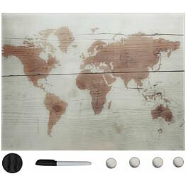 Seinäkiinnitteinen magneettinen tussitaulu, lasi, 80x60 cm