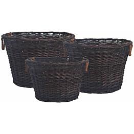 Pinottava polttopuukorisarja, 3-osainen, tummanruskea paju