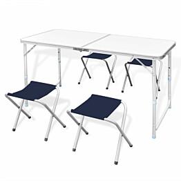 Retkipöytä 180x60cm, neljällä jakkaralla, alumiini, korkeussäädettävä
