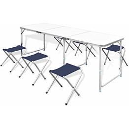 Retkipöytä 240x60cm, neljällä jakkaralla, alumiini, korkeussäädettävä