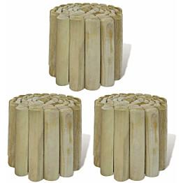 Nurmikon raja-aitarullat, 3kpl, 250x20cm, puu