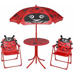 3-osainen Lasten bistrosarja aurinkovarjolla, punainen