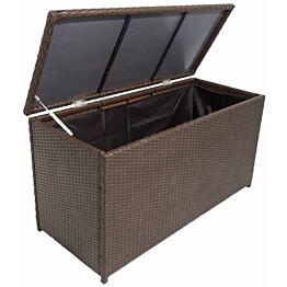 Puutarhan säilytyslaatikko, 120x50x60 cm, ruskea polyrottinki
