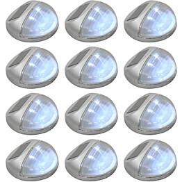 Aurinkoenergia ulkoseinävalaisimet, LED, 12 kpl, pyöreä, hopea