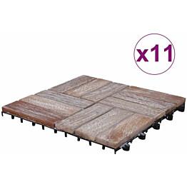 Terassilaatat 11 kpl, 30x30 cm, valkopesty, kierrätetty puu