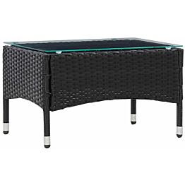 Sohvapöytä, 60x40x36 cm, musta polyrottinki