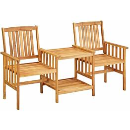 Puutarhatuolit teepöydällä, 159x61x92 cm, täysi akaasiapuu