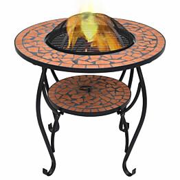 Mosaiikkipöytä tulisijalla 68cm, keramiikka, terrakotta