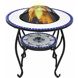 Mosaiikkipöytä tulisijalla 60cm, keramiikka, sininen/valkoinen