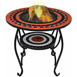 Mosaiikkipöytä tulisijalla 60cm, keramiikka, terrakotta/valkoinen