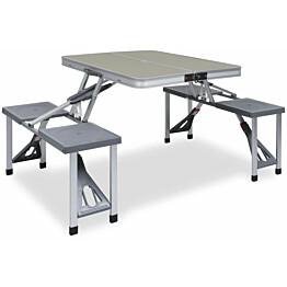 Retkipöytä neljällä istuimella, 67x67.5x85.5cm, teräs/alumiini