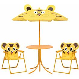 3-osainen lasten bistrosarja aurinkovarjolla, keltainen