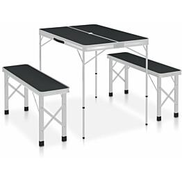 Retkipöytä kahdella penkillä, alumiini, harmaa