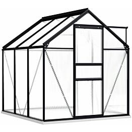 Kasvihuone alumiinirungolla 3,61 m², 190x190x202 cm, antrasiitti