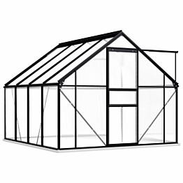 Kasvihuone alumiinirungolla 4,75 m², 190x250x202 cm, antrasiitti