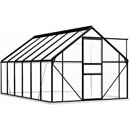 Kasvihuone alumiinirungolla 7,03 m², 190x370x202 cm, antrasiitti