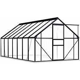Kasvihuone alumiinirungolla 8,17 m², 190x430x202 cm, antrasiitti