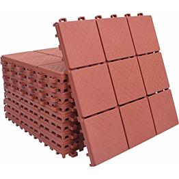 Terassilaatat 10 kpl, punainen, 30.5x30.5 cm, muovi